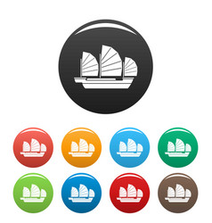 China ship icons set color vector