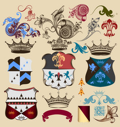 collection heraldic decorative elements vector image