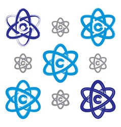 Collection of hand-painted simple molecule model vector image