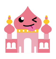 Colorful funny taj mahal kawaii cartoon vector