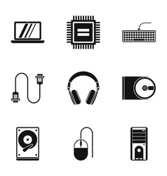 Computer protection icons set simple style vector