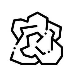 Crumpled piece of paper thin line icon vector