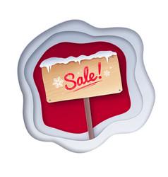 cut paper of sale signboard vector image