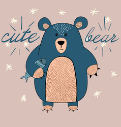 cute bear with fish vector image