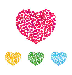 cute hearts made of colorful dots vector image