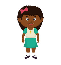 Cute little black girl character vector