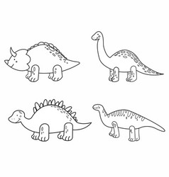 cute set cartoon line dinosaurs for children vector image
