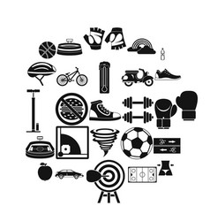 cycling clothes icons set simple style vector image