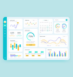 dashboard ui simple data software chart and hud vector image