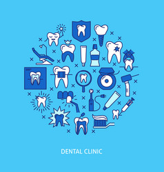Dental clinic round concept banner in colored line vector