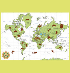 Detailed world map with countries and animals vector