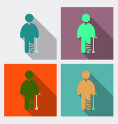 Disabled men invalid persons isolated on vector