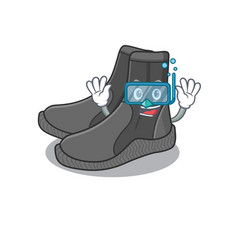 Dive booties mascot design swims with diving vector