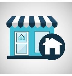 E-commerce store building web page design vector