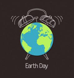 Earth globe with alarm clock over chalkboard vector