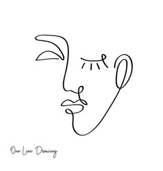 fashion one line drawing women faces vector image