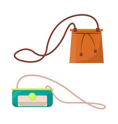 Female stylish leather purses with long straps set vector