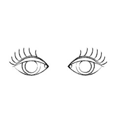 Figure vision eyes with eyelashes style design vector