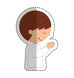 First communion boy character vector