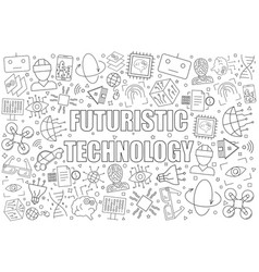 futuristic technology background from line icon vector image