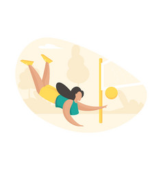 Girl actively playing volleyball beautiful vector