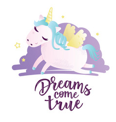 greeting card with unicorn inscription vector image