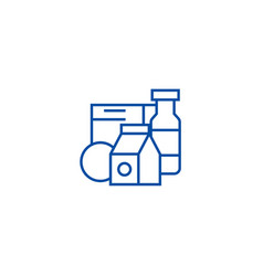 grocery productsmilk cereals line icon concept vector image