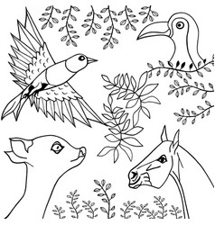 Hand draw collection animals and birds vector