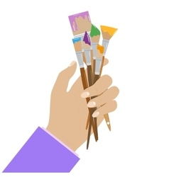 Hand holding paint brushes set of in different vector image