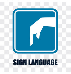 hand with sign language gesture on transparent vector image