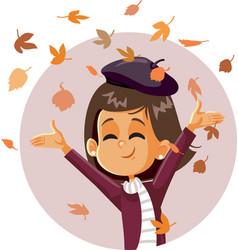 Happy autumn girl cartoon vector