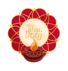 happy bhai dooj mandala and diya lamp decoration vector image