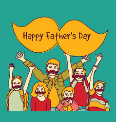 Happy fathers day group children moustache sign vector