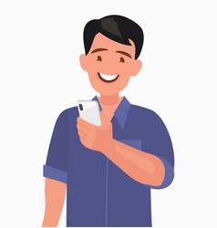 happy man is holding a smartphone person and vector image