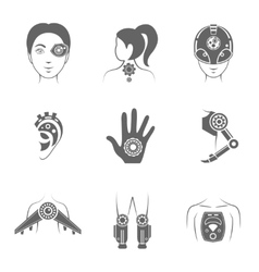 Human robot icon vector