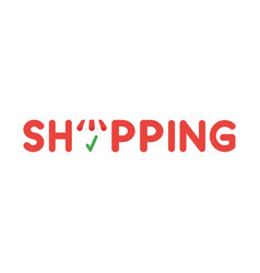 icon concept of shopping word with store awning vector image