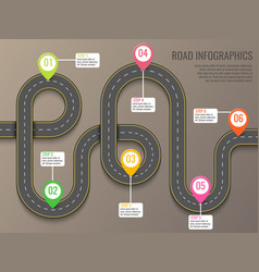 Infographics template with road map using pointers vector