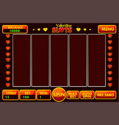 interface slot machine style stvalentine vector image