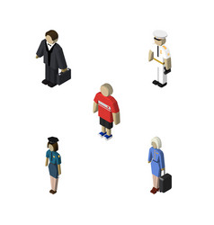 Isometric people set of policewoman hostess vector