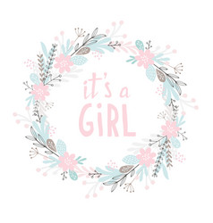 it is a girl cute hand drawn baby shower vector image