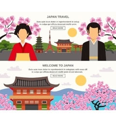 Japanese Culture 2 Horizontal Banners Set vector image