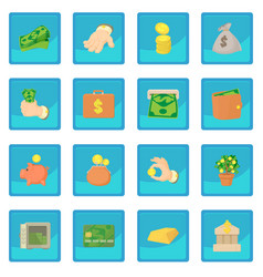 Kinds of money icon blue app vector
