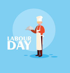 Labour day celebration with professional chef vector