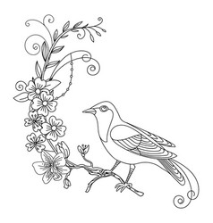 line art bird with flowers composition vector image