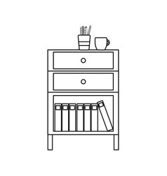 Line cabinet file archive with coffee cup and vector