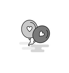 love balloons web icon flat line filled gray icon vector image