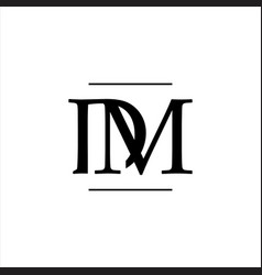 luxury curved initial d m letter logo design vector image