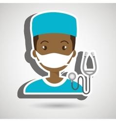 Man nurse medical stethoscope vector