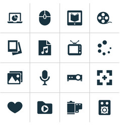 media icons set with projector monitor full vector image