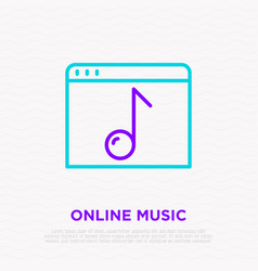 Music online thin line icon web page with note vector